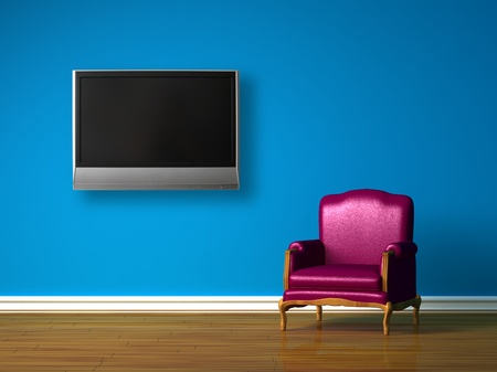 lounge chairs: Purple chair with LCD tv in blue minimalist interior Stock Photo