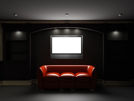 Red leather divan with LCD tv in dark room photo