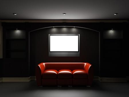divan: Sof� de cuero rojo con TV LCD en el cuarto oscuro