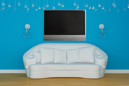 sconces: Sofa with sconces and LCD tv in blue minimalist interior