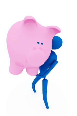 3d person holding piggy bank photo