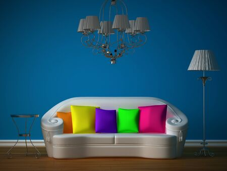 blue room with white couch and luxurious chandelier  photo