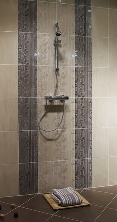 shower cabin with wall mount shower attachment Stock Photo