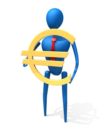 3d person with a gold euro sign. 3d image. Isolated white background.  photo