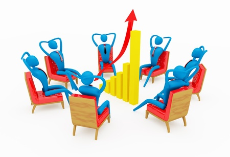 one on one meeting: persons relaxing around going up graph