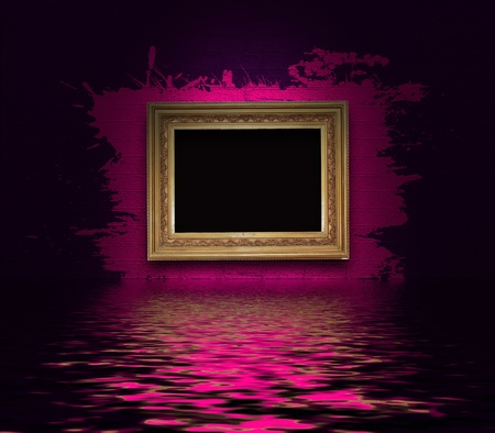 Frame with splashes on a dark wall photo