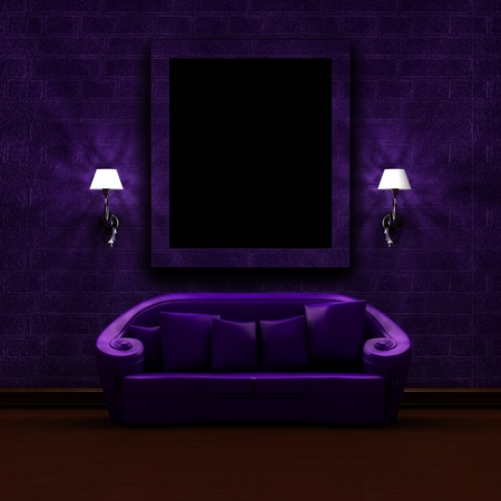 sconces: Purple couch with sconces in dark minimalist interior Stock Photo