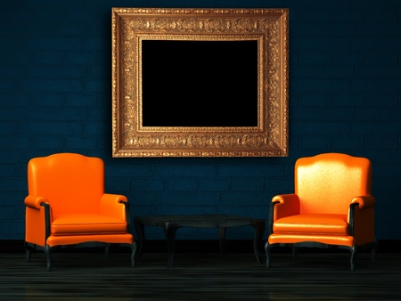 Two orange chairs and wood table with empty frame in minimalist interior photo