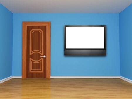 blue empty room with door  photo