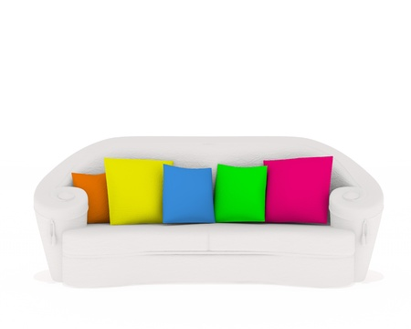 white couch with colored cushion isolated on white