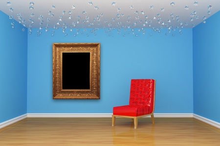 Empty room with red chair and picture frame photo