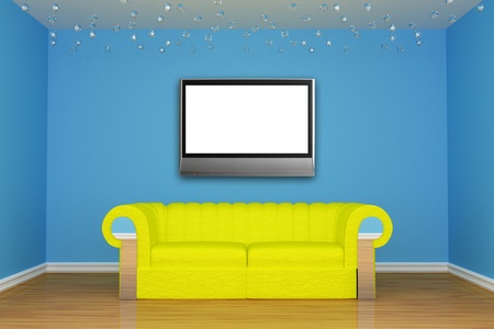 chrom: blue minimalist living room with yellow couch