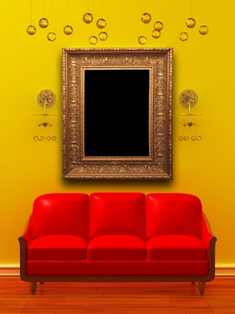 sconces: Red couch with empty frame and sconces in  minimalist interior