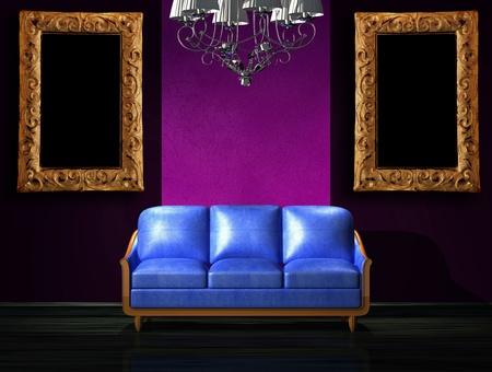 Blue leather sofa with luxury chandelier in minimalist interior