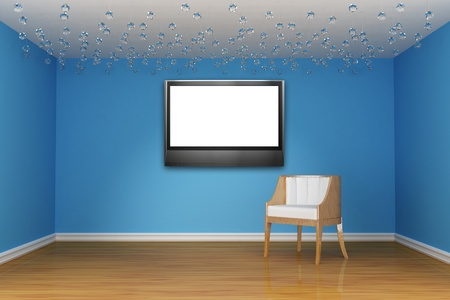 white chair with LCD tv in blue room  photo