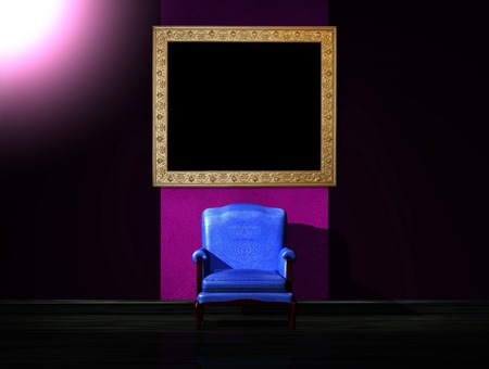 venge: Alone blue chair in dark interior Stock Photo
