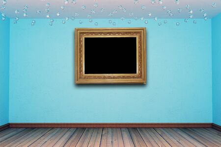 blue empty room with antique photo frame photo