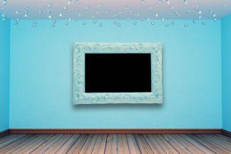 blue empty room photo