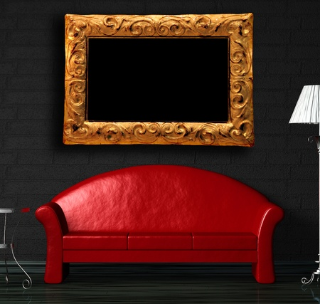 Red sofa, table  and standard lamp in  black minimalist interior photo