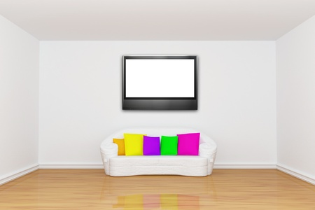 minimalist living room with white couch with colored cushion photo
