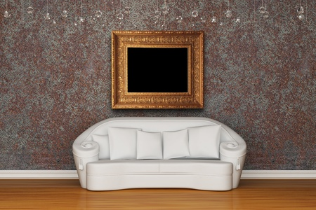 White sofa in rusty interior photo