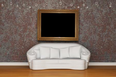 White sofa in rusty interior photo