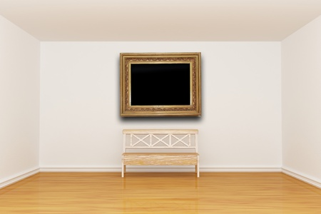 Empty minimalist interior with bench and vintage frame stock photo