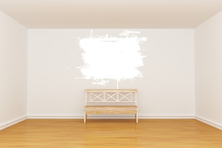 Empty minimalist interior with bench and vintage frame photo