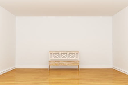 Empty minimalist interior with bench photo