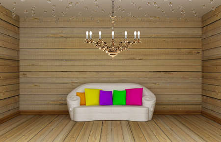irradiate: living room with white couch and golden luxury chandelier  Stock Photo