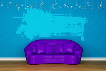 Alone purple sofa with splash banner in blue room photo