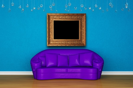 Alone purple sofa in blue interior photo