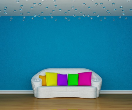 blue minimalist living room with white couch with colored cushion photo