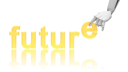 Robotic hand and word Future, business concept isolated on white background Stock Photo - 13002299