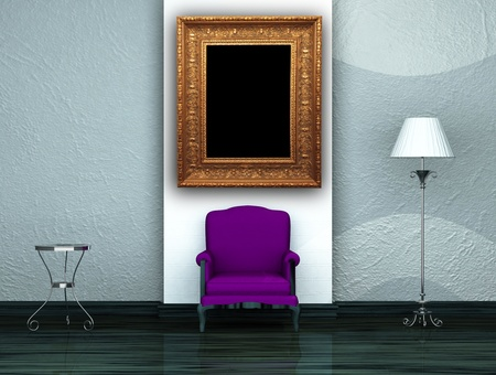 Purple chair with table and stand lamp in minimalist interior