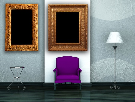 Purple chair with table and stand lamp in minimalist interior  photo