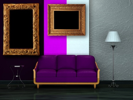venge: Purple couch with table and stand lamp in dark minimalist interior