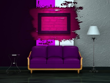Purple couch with table and stand lamp in dark minimalist interior  photo