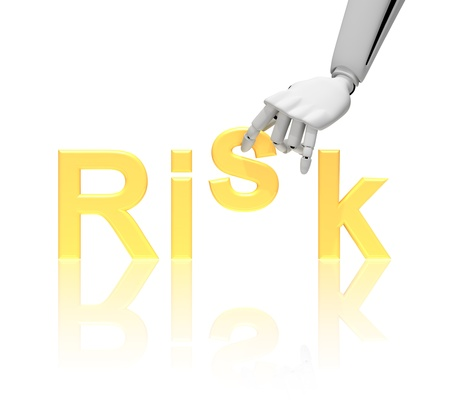 Robotic hand and word risk isolated on white creating a concept  photo