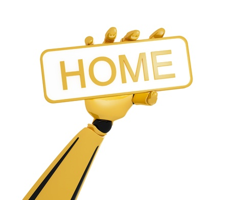 Gold robotic hand hold a plate with word &quot,home&quot,.  photo
