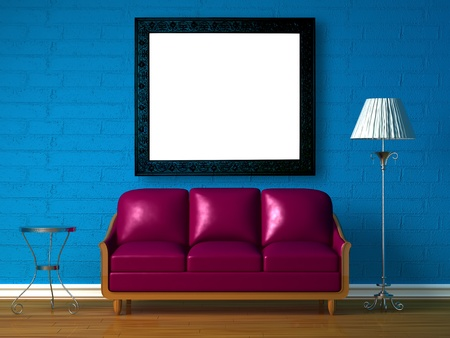 Purple couch, table  and standard lamp in  blue minimalist interior Stock Photo - 13002545