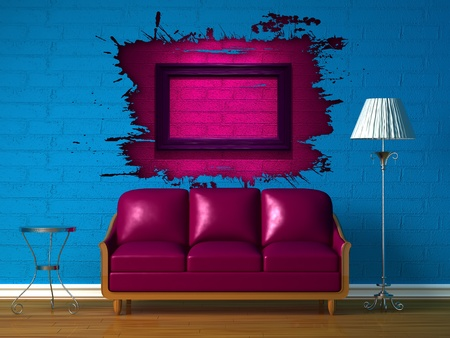 Purple couch, table  and standard lamp in  blue minimalist interior photo