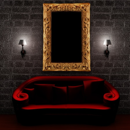 Red couch with empty frame and sconces in minimalist interior Stock Photo - 13003029