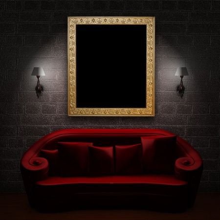 sconces: Red couch with empty frame and sconces in minimalist interior Stock Photo