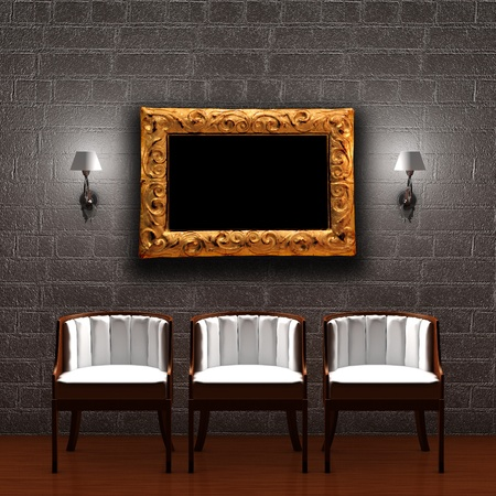 sconces: Three chair with empty frame and sconces in dark minimalist interior