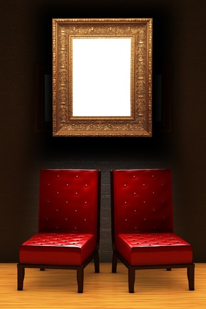 Two red chairs with empty frame in minimalist interior  photo