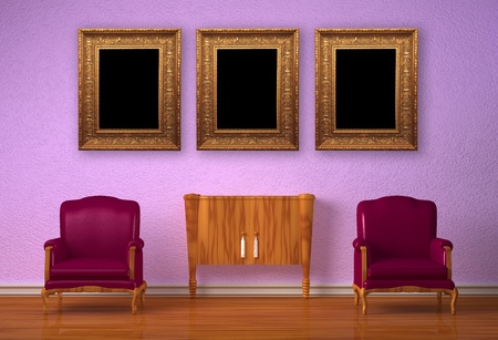 Two luxurious chairs with wooden console in purple interior Stock Photo - 13101161