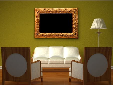 Two luxurious chairs opposite green wall with couch and stand lamp photo