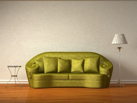 Olive couch with table and standard lamp in white interior Stock Photo - 13101184