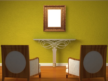 Two luxurious chairs opposite green wall with metallic console photo